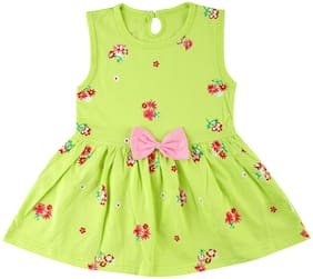 Catcub Green Cotton Sleeveless Above Knee Princess Frock ( Pack of 1 )