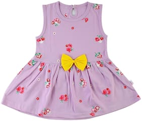 Catcub Purple Cotton Sleeveless Above Knee Princess Frock ( Pack of 1 )