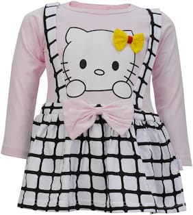 Catcub Pink Cotton 3/4th Sleeves Knee Length Princess Frock ( Pack of 1 )