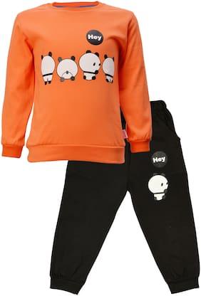 Catcub Cotton Cartoon print Top & Bottom Set - Orange & Black