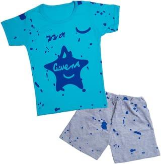 Catcub Cotton Printed Top & Bottom Set - Blue
