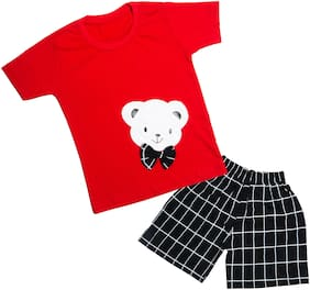 Catcub Cotton Printed Top & Bottom Set - Red