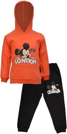 Catcub Unisex Top & bottom set - Orange & Black
