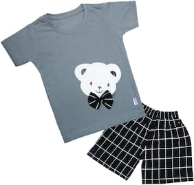 Catcub Cotton Printed Top & Bottom Set - Grey