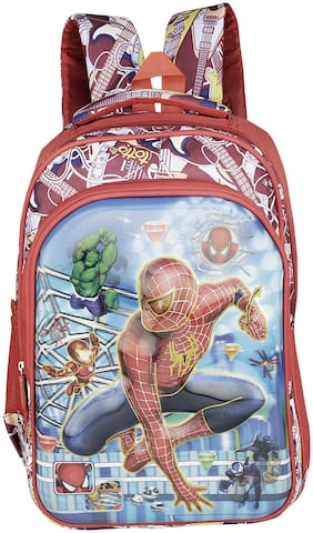 Caterfly Fabric Red and Blue Spider Man 3D 25 Ltrs Kids Adjustable Strap School/Shoulder Backpack Bag