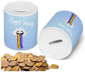 Ceramic Piggy Money Bank for Cash and Coin- Birthday Gifts Toy Gifts for Kids (Rainbow Theme)