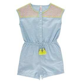 Chalk by Pantaloons Girl Cotton Solid Frock - Blue