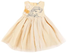 Chalk by Pantaloons Beige Cotton Sleeveless Knee Length Princess Frock ( Pack of 1 )