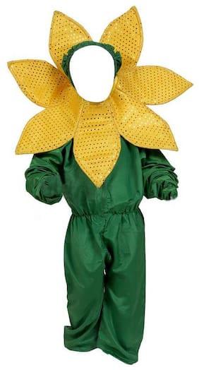 Chandu ki Dukan  Sunflower Flower Dress Costume(Green;Yellow)