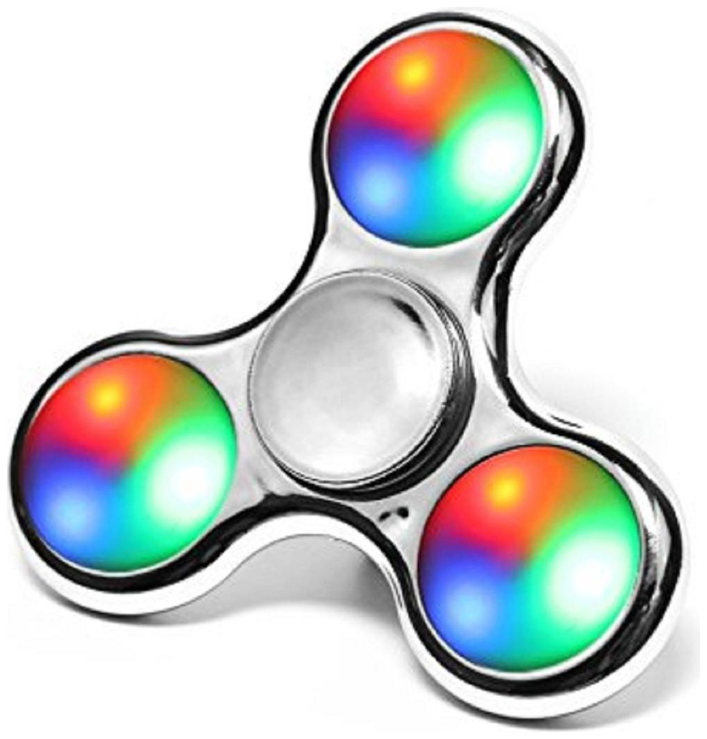 Charlies Toy Factory Fidget Spinner Chrome Edition Full Glossy Looks Shining LED Lights Silver Color