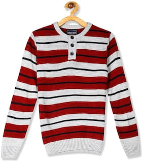 CHEROKEE Boy Acrylic Striped Sweater - Red