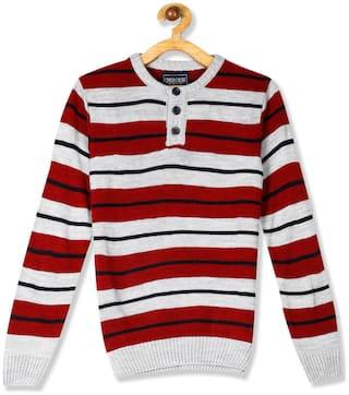 CHEROKEE Boy Acrylic Striped Sweater - Red