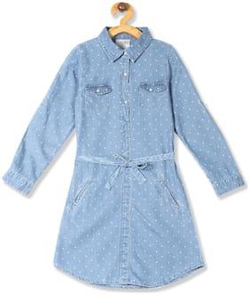 CHEROKEE Baby girl Cotton Printed Princess frock - Blue