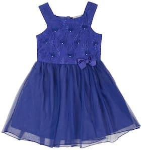CHEROKEE Blue Polyester Sleeveless Knee Length Princess Frock ( Pack of 1 )