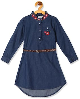 CHEROKEE Blue Cotton Full Sleeves Knee Length Princess Frock ( Pack of 1 )
