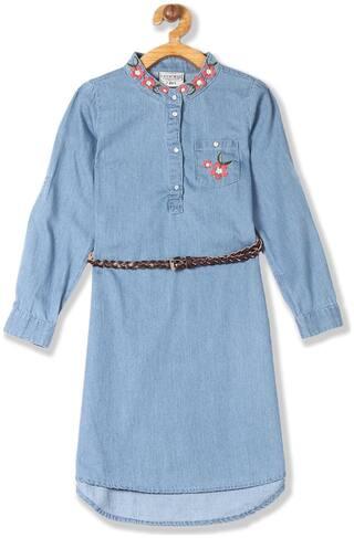 CHEROKEE Blue Cotton Full Sleeves Knee Length Princess Frock ( Pack of 1 )