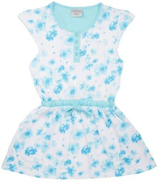 CHEROKEE Blue Cotton Short Sleeves Knee Length Princess Frock ( Pack of 1 )