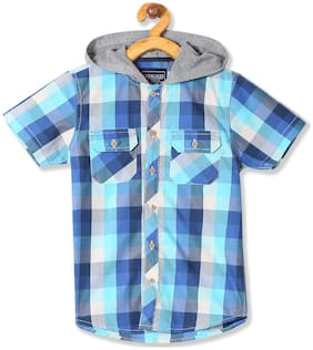 CHEROKEE Boy Cotton Checked Shirt Blue