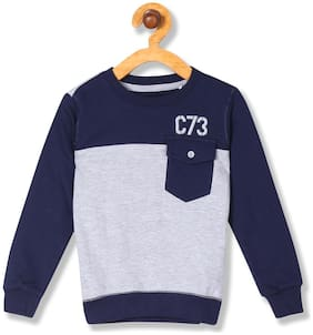CHEROKEE Boy Cotton Colorblocked Sweatshirt - Blue