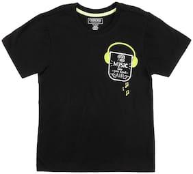 CHEROKEE Boy Cotton Printed T-shirt - Black