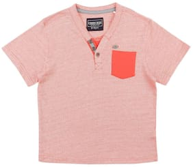 CHEROKEE Boy Cotton Solid T-shirt - Red