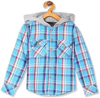 CHEROKEE Boy Cotton Checked Shirt Blue