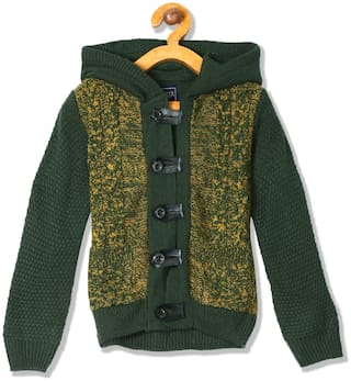 CHEROKEE Boy Acrylic Solid Sweater - Green