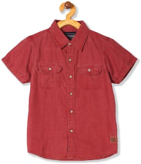 CHEROKEE Boy Cotton Solid Shirt Red
