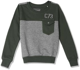 CHEROKEE Boy Cotton Colorblocked Sweatshirt - Green