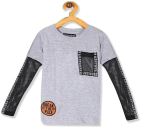CHEROKEE Boy Cotton Solid T-shirt - Grey