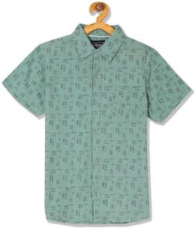 CHEROKEE Boy Cotton Printed Shirt Green