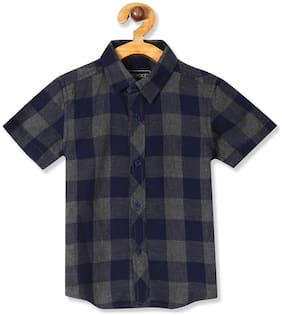 CHEROKEE Boy Cotton Checked Shirt Blue & Grey