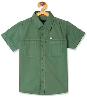 CHEROKEE Boy Cotton Solid Shirt Green