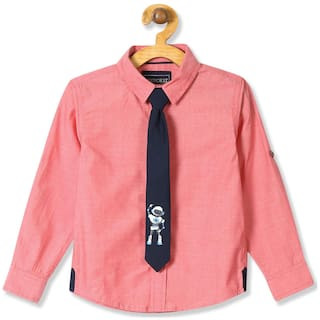 CHEROKEE Boy Cotton Solid Shirt Pink