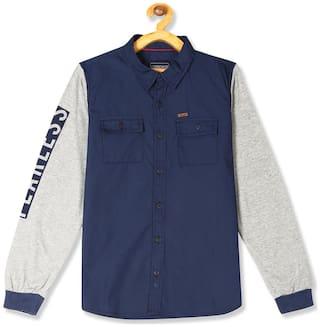 CHEROKEE Boy Cotton Colorblocked Shirt Blue