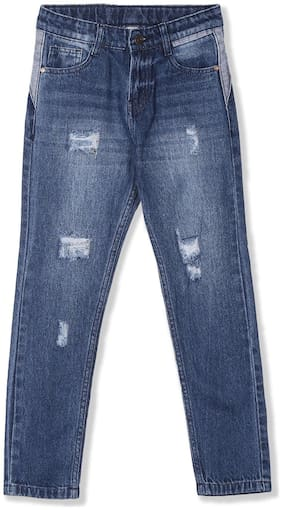 CHEROKEE Cotton Blue Boys Slim Fit Distressed Jeans