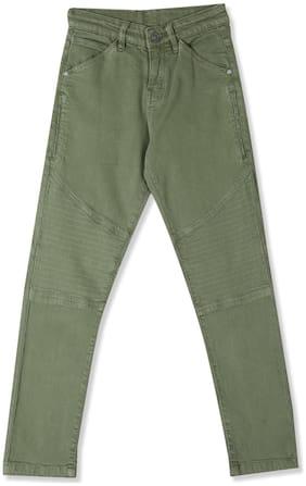 CHEROKEE Cotton Green Boys Slim Fit Mid Waist Jeans