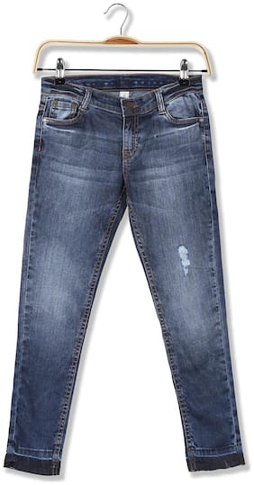 CHEROKEE Cotton Girls Slim Fit Washed Jeans