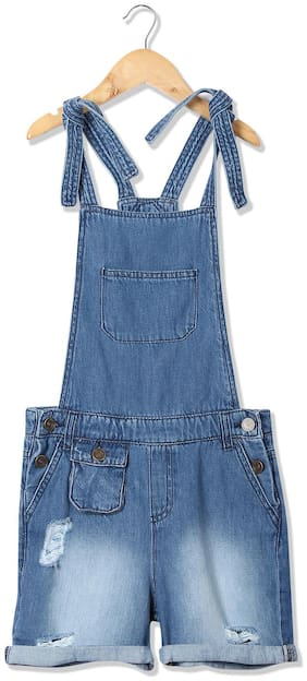 CHEROKEE Cotton Solid Dungaree For Girl - Blue