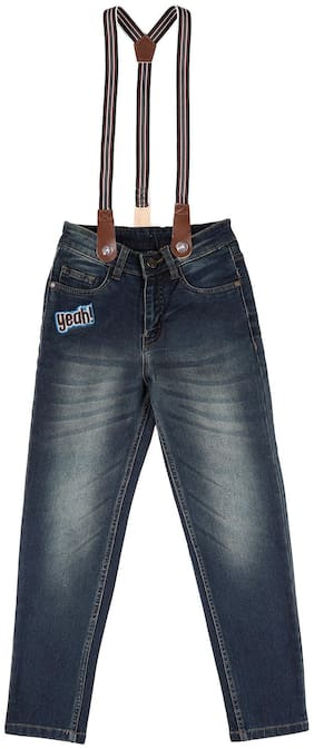 CHEROKEE Cotton Boys Washed Jeans With Suspenders