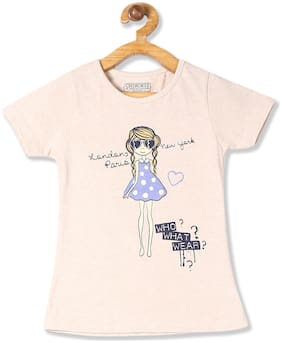 CHEROKEE Cotton Printed T shirt for Baby Girl - Beige