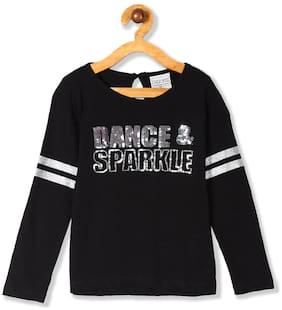 CHEROKEE Cotton Embellished Top for Baby Girl - Black
