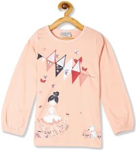 CHEROKEE Cotton Printed T shirt for Baby Girl - Orange