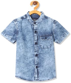 CHEROKEE Cotton Solid Shirt for Baby Boy - Blue