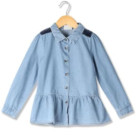 CHEROKEE Cotton Embellished Top for Baby Girl - Blue