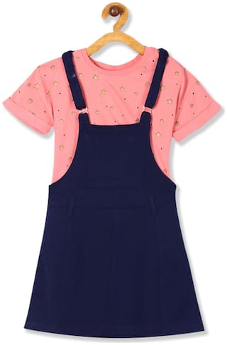 CHEROKEE Cotton Printed Dungaree For Girl - Blue