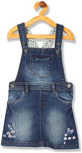 CHEROKEE Cotton blend Embellished Dungaree For Girl - Blue