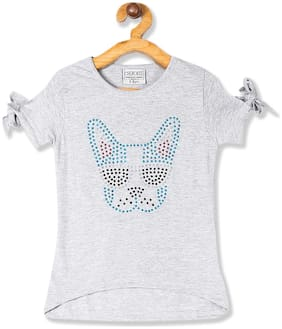 CHEROKEE Cotton Embellished Top for Baby Girl - Grey