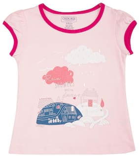 CHEROKEE Cotton Printed T shirt for Baby Girl - Pink