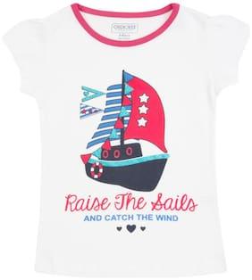 CHEROKEE Cotton Printed T shirt for Baby Girl - White